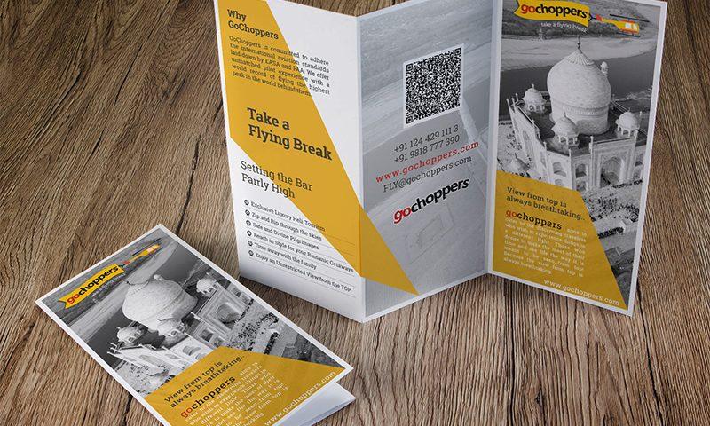 Exclusive trifold brochure leaflet design gochoppers gurgaon