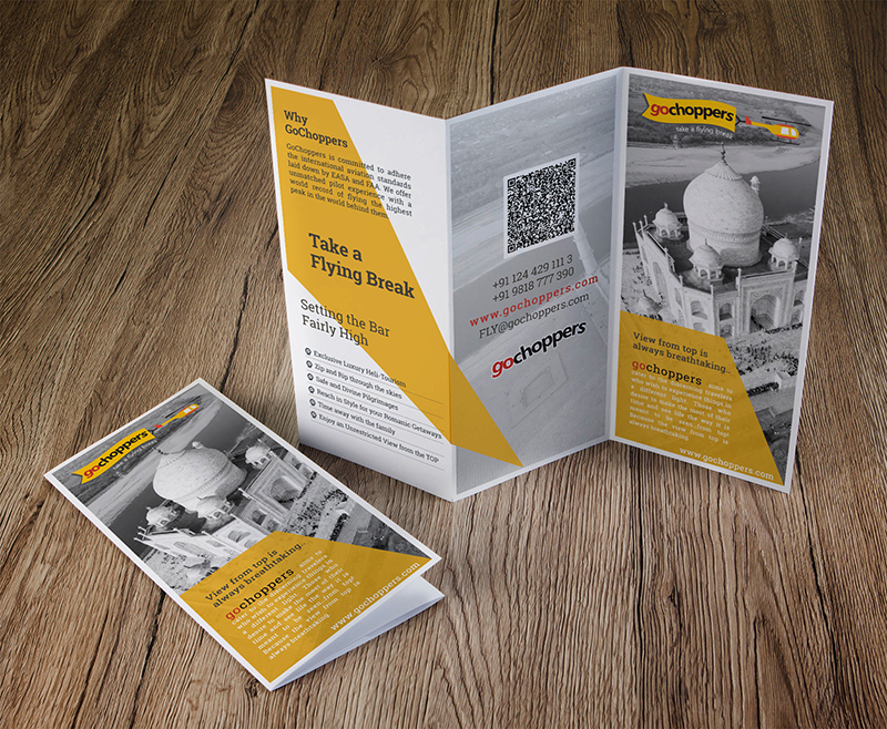 Exclusive trifold brochure leaflet design gochoppers gurgaon